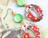 O earrings oval hand painted ceramic floral pearl sun stone