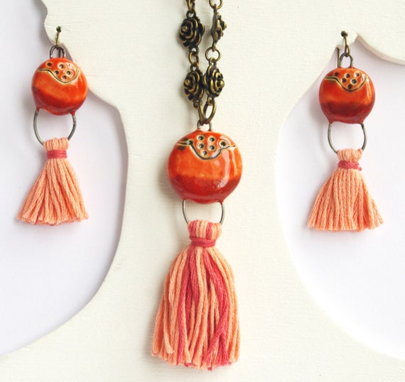Red coral jewelry set long necklace and earrings - ceramic tassel pompon