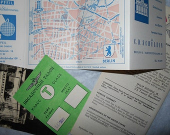 vintage ephemera  travel papers pamphlet 1960s picture postcard Budapest Stamp Customs Berlin Hotel Windsor Free USA Shipping