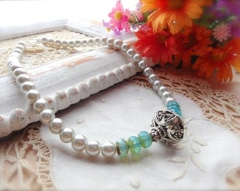 Romantic Pearl Necklace, Turquoise Czech Glass and Pearls, Necklace Set, Western Jewelry, Cowgirl Jewelry *CHARLENE*