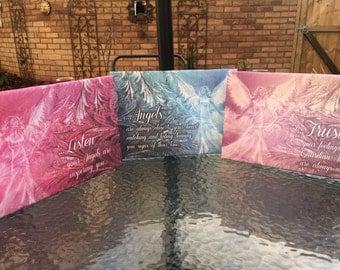 Set of 3 Angel Message canvas prints  - A4