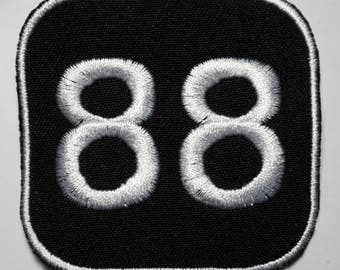 Number 88  - embroidered patch, BUY3 GET4, 2,4 X 2,4 INCH