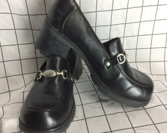 90's Chunky Heel Platform Black Leather Chain Shoes