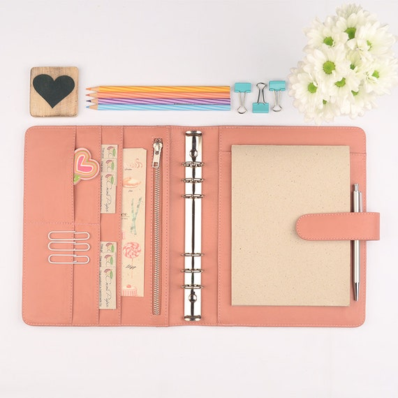 NEW A5 Leather Ring Binder Personal Planner 6 Ring By