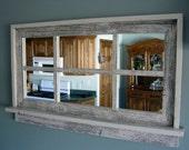 RESERVED for Lyndsay  --  Barnwood Window Mirror with Shelf & hooks