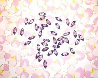 72 Vintage Japan 6mm  Handpainted Navette  Cabochons Beads