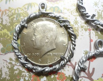 4 Vintage Silverplated Kennedy Half Dollar Coin Holder Pendants