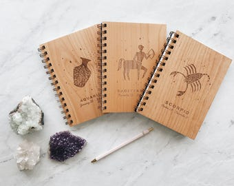 Zodiac Sign Wood Journal - all signs available