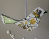 Vintage China Mosaic Bird, Hanging Ornament, mothers day gift, romantic, retro, ladies gift, handmade,love bird, easter, spring,personalised