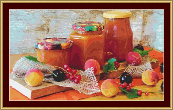 Apricot Jam Cross Stitch Pattern /Digital PDF Files /Instant downloadable