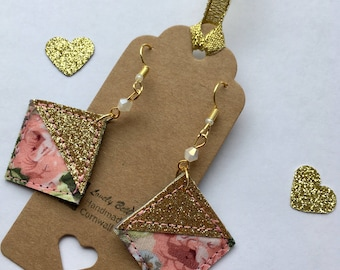 Pretty pink and gold geometric earrings with Swarovski beads
