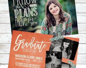 Scripture Digital Graduation Announcement...Jeremiah 29:11 overlay ~  two-sided
