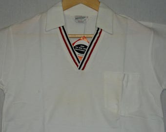 NOS / 1950s Shirt / S - M / Tri Tone / Rockabilly / Polo Shirt / Pullover / Juvenile Delinquent / JD / Tennis / Vintage 1950s Mens Clothes