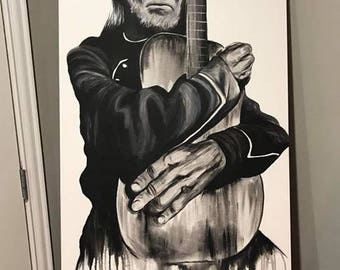 "Willie nelson painting print 5""x7"""