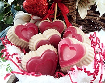 Chocolate Covered Strawberries Soap (6), Valentines Day Soap, Goats Milk Soap, Valentines Day gift, Handmade soap, Glycerin Soap, Heart Soap