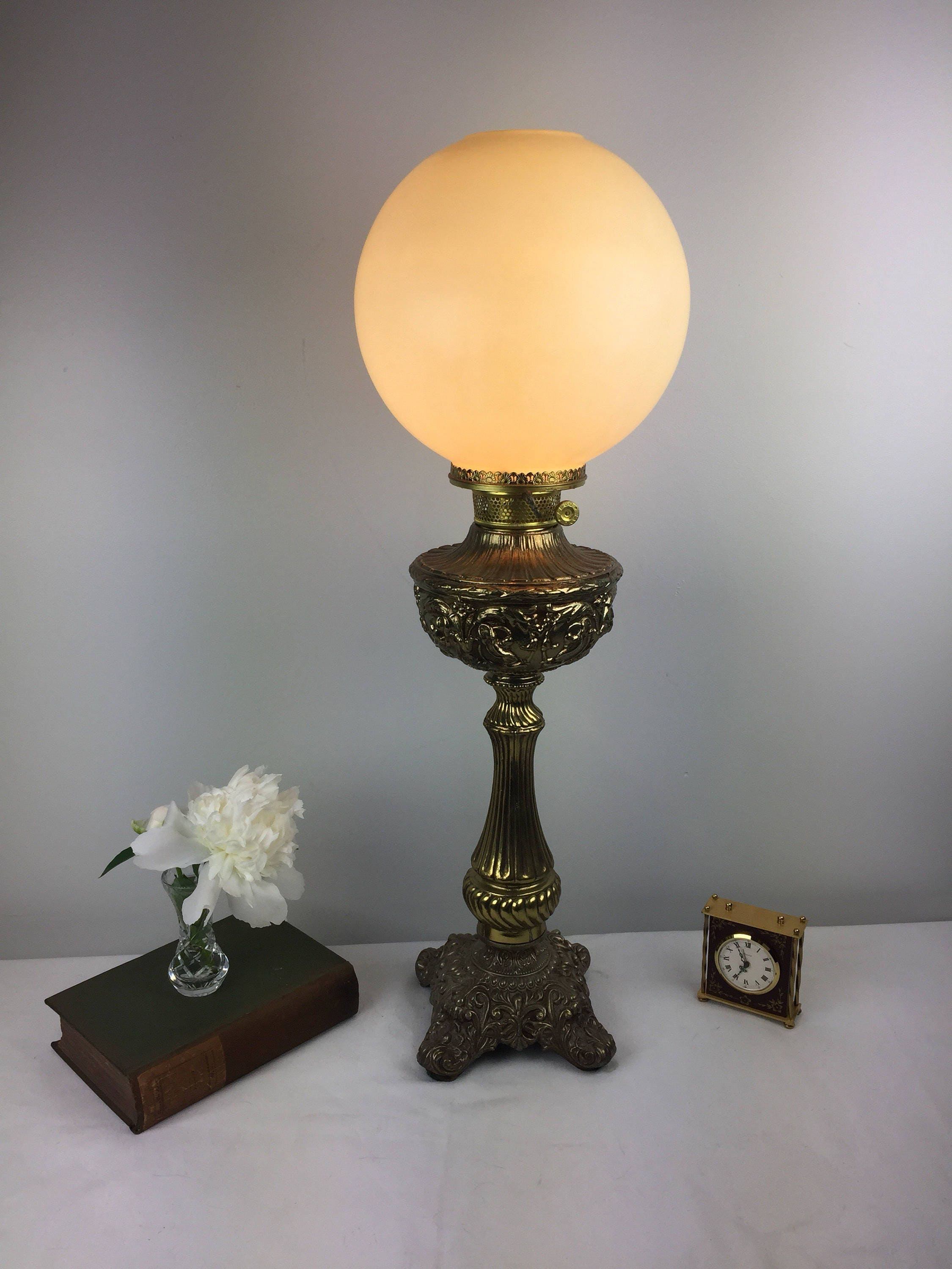 embossed parlor banquet electrified lamp cream glass globe. Black Bedroom Furniture Sets. Home Design Ideas