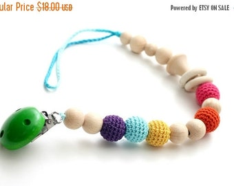 SALE Baby dummy chain Pacifier clip, Crochet wooden rattle holder, stroller dummy chain, Rainbow Teething wooden baby toy