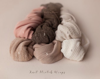 Knit Stretch Wraps, Newborn Knit Wraps, Baby Wraps, Newborn Photo Props, Photography Props, Swaddling Wraps