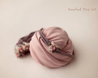 Rosebud Trio Set, Newborn Photo Prop, Newborn Posing Set, Wrap and Band Set, Dusty Rose Newborn Set