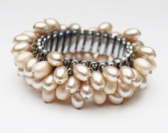 Pearl Expansion Bracelet - cha cha stretch bangle - creamy off white oblong beads