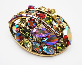 Hollycraft Rhinestone Brooch - Signed  Corp 1959 -  colorful Aurora Borealis crystal - Domed Pin