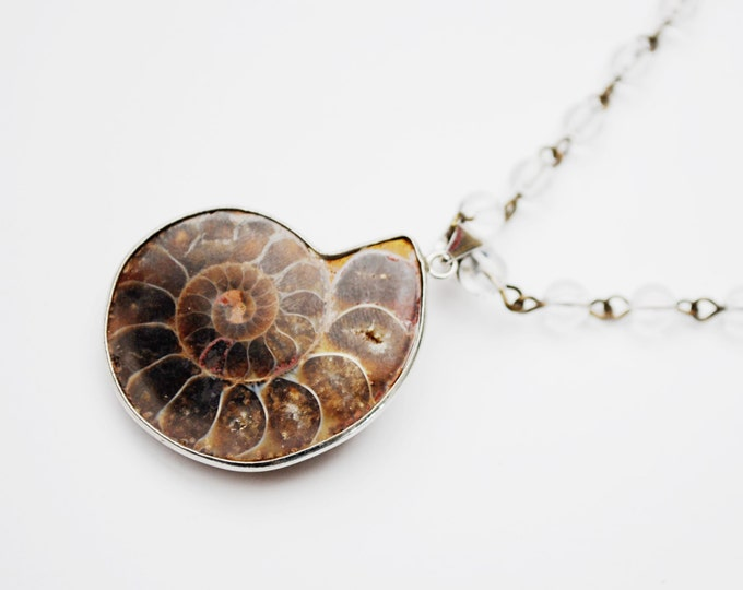 Ammonite pendant Necklace - polished quartz bead - Handmade Necklace