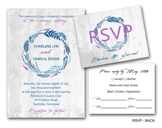 Elegant Inexpensive Wedding Invitations: Stainless Steel Wreath Wedding Invitations Set Printed