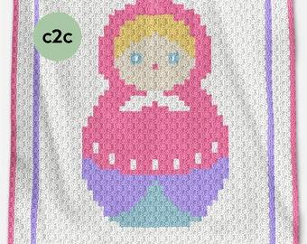 CROCHET Pattern - C2C Baby Blanket Pattern - Matrioshka - C2C Crochet Graph - Russian Doll Crochet Pattern - c2c Crochet - c2c Crochet Chart