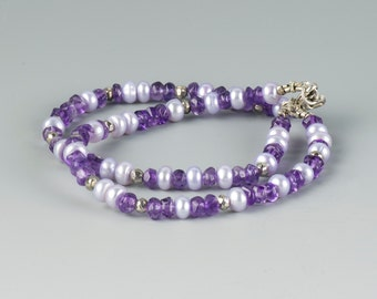 Multi Strand Pearl & Gemstone Bracelet, Pearl and Amethyst Bracelet, Real Pearls, Unusual Pearls, Genuine Natural Gemstone, Lilac Jewelry,