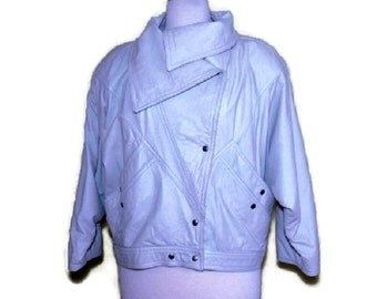White Leather Jacket Women's Bat Sleeves Genuine Vintage 90s Fully Lined Size M