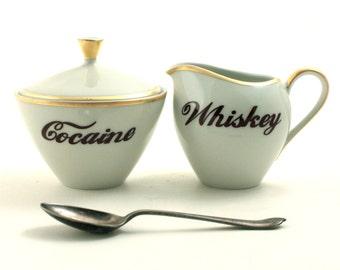 Cocaine Whiskey Vintage Redesigned Lidded Sugar Pot Creamer Porcelain Alcohol Drug Sugar White Brown Fun Funny