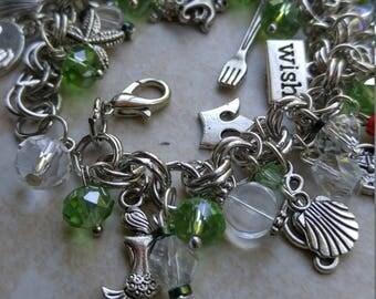 SALE Little Mermaid bracelet, Ariel Bracelet, Princess charm Bracelet, Silver charm bracelet #50-1l