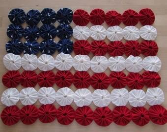 Mini yo yo flag quilt or table topper in red white and blue yo yos