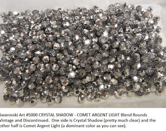 30+ Swarovski Crystal Shadow-Comet Argent Light Blend 5mm Round Crystals, Article 5000