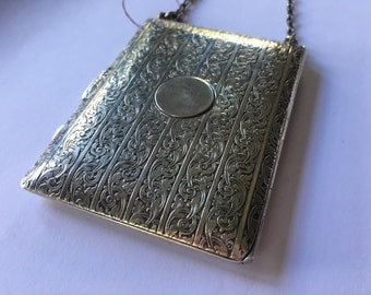 Antique Solid Sterling Silver Compact Dance Purse with Pen Holder | Antique Coin Purse with Compact