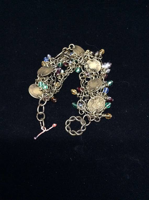 Vintage Chain crystal bracelet with toggle clasp