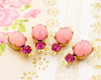 Vintage Pink Opal and Fuchsia Pink Rhinestone Drops or Connectors Brass, Matte Black or Antique Silver Settings - 2