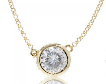 14 Karat Yellow Gold Bezel Set Moissanite Slide Pendant Necklace