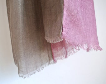 Natural dyed Pink Cochineal and gray double faced Linen scarf