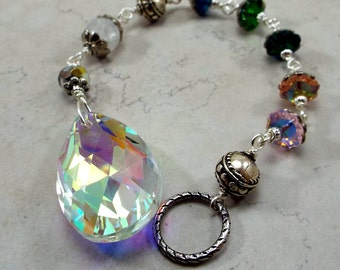 Sun Catcher Aurora Borealis with on Silver plated Floral Crystal chain