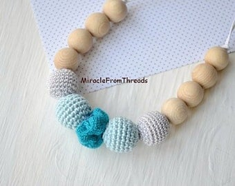 Wrap Scrap Teething necklace,Nursing necklace,Neutral color,Babywearing necklace,Gift for baby mom,Breastfeeding necklace,Safe ecofriendly