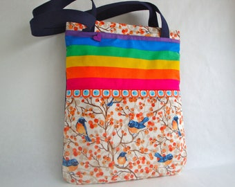 Cotton  rainbow  Tote -  Book bag - spring tote - summer tote - teen girls - handmade - gift  -  bird tote  - small tote - funky tote
