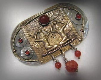 "Vintage OOAK EGYPTIAN Sterling/Brass Brooch -- Combination of Old and New, Artisan Signed, 3"" long, 26.9g"