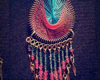 Blue & Pink Teardrop Earrings