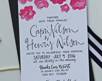 Bold Floral Wedding Invitation / Flower Wedding Invitation / Modern Wedding Invitation / Watercolor Wedding Invitation / Calligraphy Invite