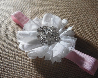 Pink and White Flower Headband