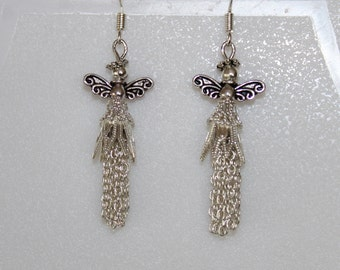 Handcrafted petite angel earrings made with silver tone beads and chain.
