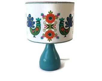 Sweet little bedside lamp and shade made from vintage bird fabric