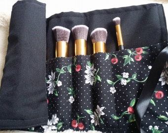 SET Brush Holder & Brushes- Pin Up Red Cherries Make Up Brush Holder and 1 Set of 10 PERSONALIZED Makeup Brushes Choose your Custom Colors
