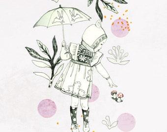 """A5 A4 Art print """"Balade"""" (Kinu serie) (limited edition)"""